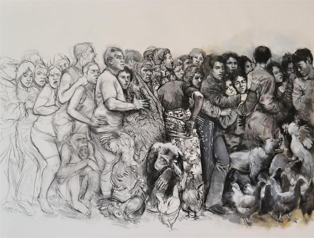 Animal racional inclinado a vivir en sociedad Jorman Gutiérrez Técnica mixta sobre tela 130x100cm 2019  Jorman Gutiérrez // Artista exclusivo de ZINK industrias creativas®