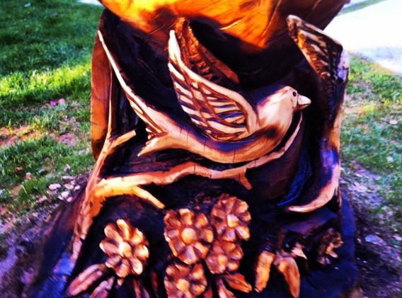 #birdbath #woodart #woodcarving #sculptu