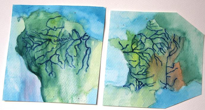 Cartes des fleuves Amazon et France, comme les veines d'un organisme