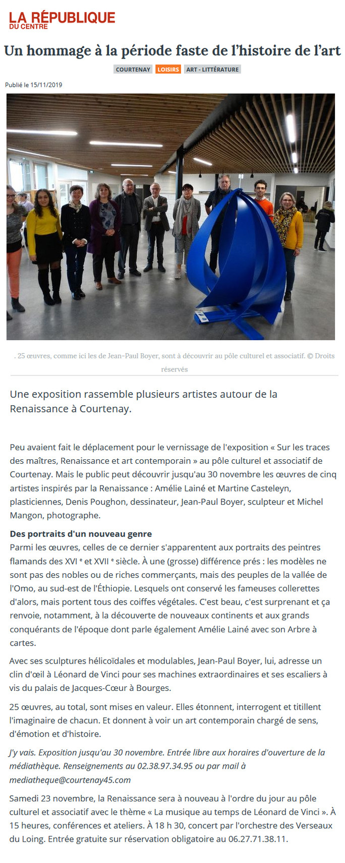 Exposition Centre Culturel de Courtenay