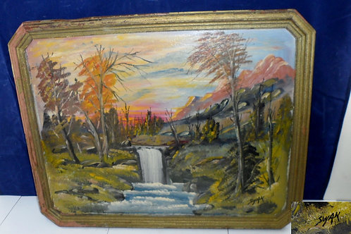 Oil Painting Waterfall By Swan