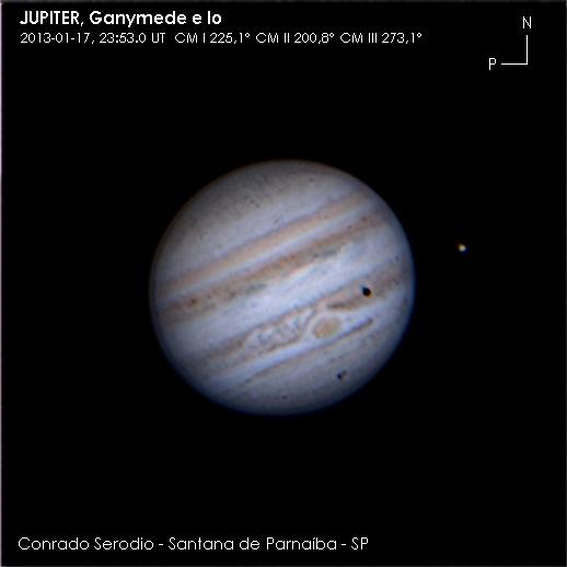 Jupiter, Ganymede e Io em 17.01.2013