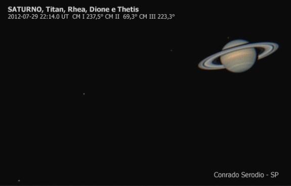 Saturno e 4 de suas luas