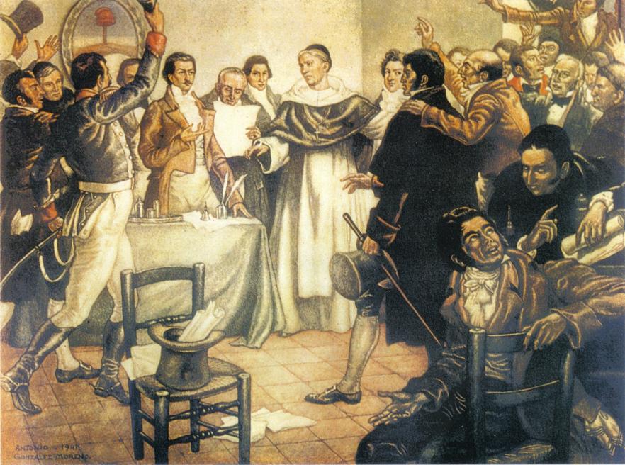 Antonio González Moreno Acuarela Firma declaración de independencia Argentina