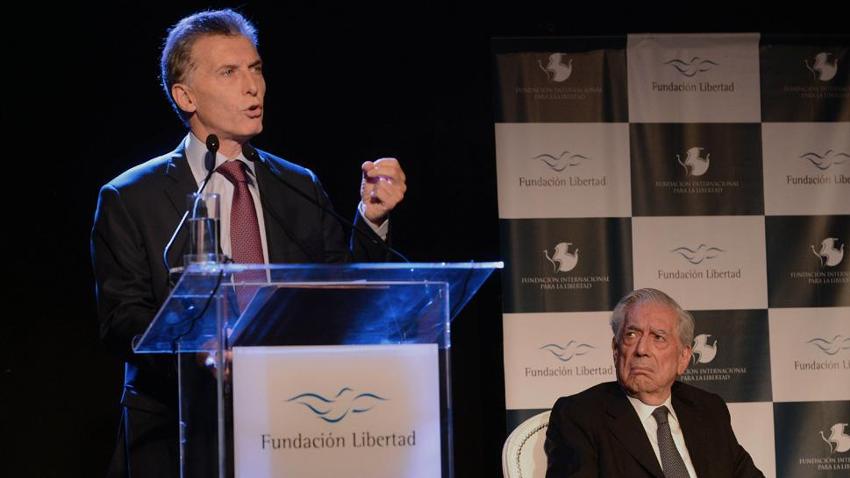 Fundación Libertad: Mauricio Macri y Mario Vargas Llosa, 2016.