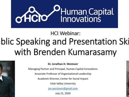 HCI Webinar: Public Speaking and Presentation Skills, with Brenden Kumarasamy