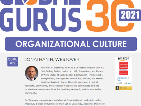 "Dr. Westover Named to Global Gurus' ""Top 30"" in Organizational Culture"