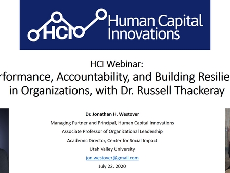 HCI Webinar: Accountability, and Building Resilience in Organizations, with Dr. Russell Thackeray