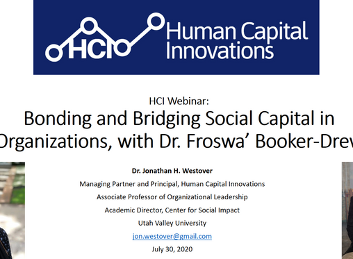 HCI Webinar: Bonding and Bridging Social Capital in Organizations, with Dr. Froswa' Booker-Drew