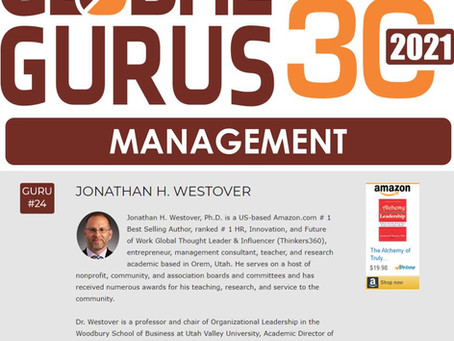 "Dr. Westover Named to Global Gurus' ""Top 30"" in Management"