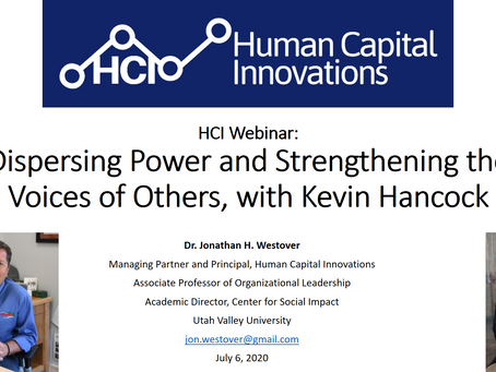 HCI Webinar: Dispersing Power and Strengthening the Voices of Others, with Kevin Hancock