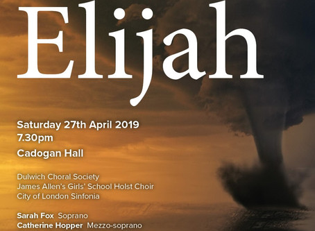 Seven Weeks to Go Until DCS's Elijah at Cadogan Hall!