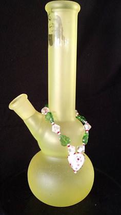 Cheery White Heart with Leaves Bong Bling
