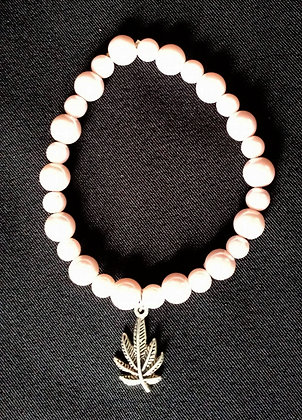 Cream and White Beaded Cannabis Bracelet*