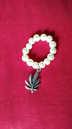 Creamy Pearl Cannabis Dangle Ring*