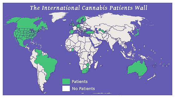The International Cannabis Patients Wall has patients from these countries signed to be represented on their virtual wall