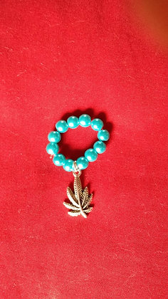 Bluegreen Beaded Ring Cannabis Ring*