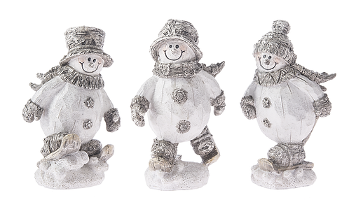 Skiing Snowmen Sparkle Figurines