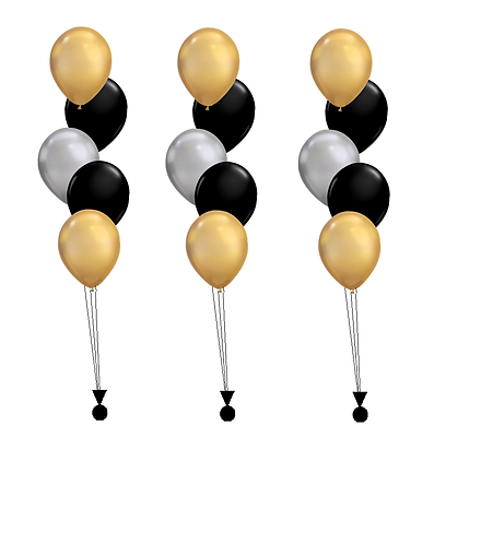 Three Bouquets of Five Latex Balloons