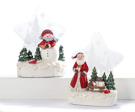 Christmas Figurine w/Light-Up Star