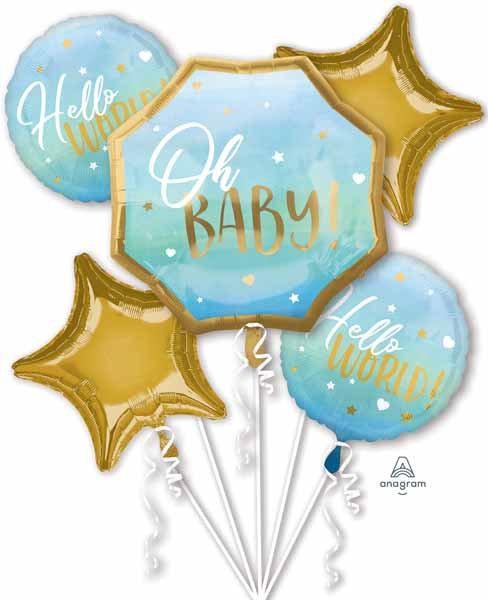 Super Fun Foil Balloon Bouquet -Hello Baby Boy!