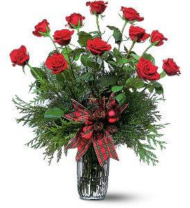 One Dozen Christmas Red Roses TF87-1