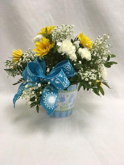 Pitter Patter Baby Boy Flower Arrangement