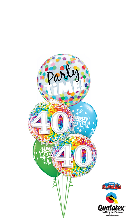 Cheerful Bubble Balloon Bouquet -  40th Birthday Time Party Time