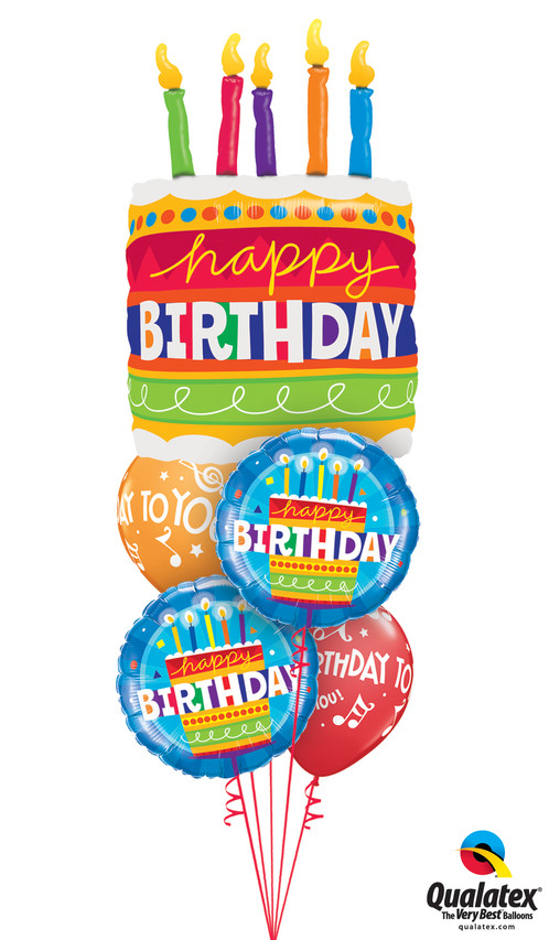 One Bright 35 Birthday Cake Balloon Two Coordinating 18 Foil Mylar Balloons And Colourful Latex Make Up This Bouquet