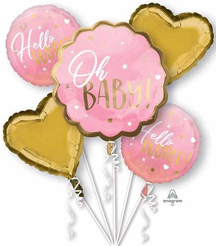 Super Fun Foil Balloon Bouquet -Hello Baby Girl!