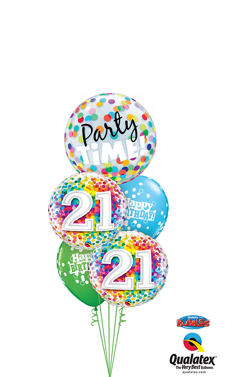 Cheerful Bubble Balloon Bouquet -  21st Birthday Time Party Time