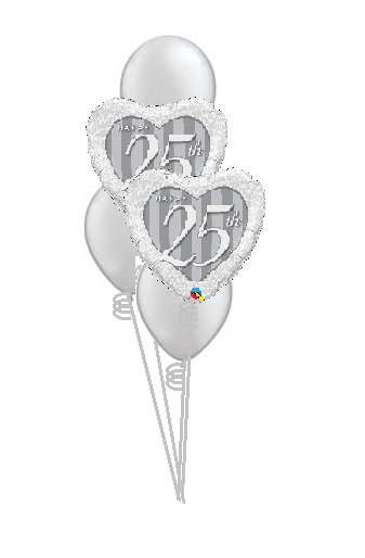 Classic Balloon Bouquet - 25th Anniversary
