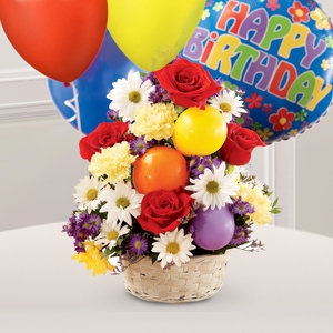 The FTD® Birthday Cheer Balloons™ Basket
