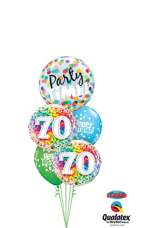 Cheerful Bubble Balloon Bouquet -  70th Birthday Time Party Time