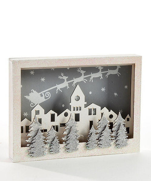 Wood LED Christmas Shadow Box w/Timer Function
