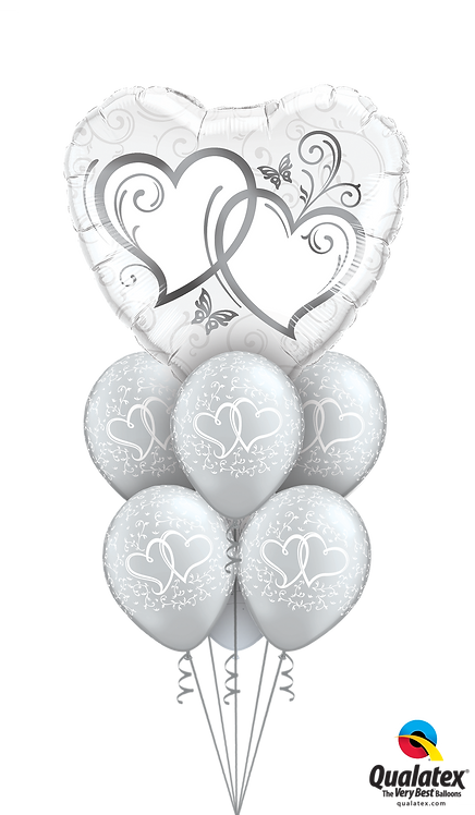 Awesome Balloon Bouquet - Hearts Aflutter:Silver