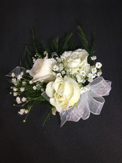 3 Bloom white spray roses corsage