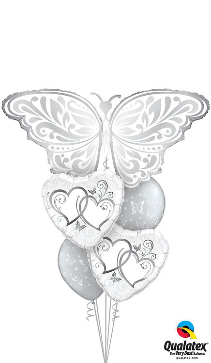Cheerful Balloon Bouquet - Silver Butterfly Hearts