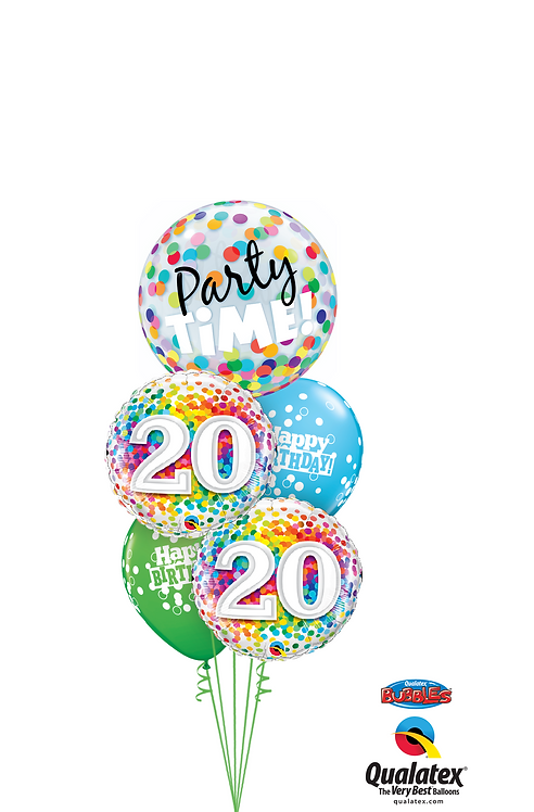 Cheerful Bubble Balloon Bouquet -  20th Birthday Time Party Time