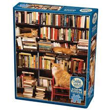 Gotham Bookstore Cats 500pc Cobble Hill Jigsaw Puzzle