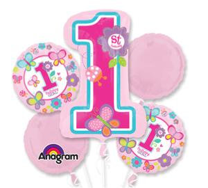 Super Fun Foil Balloon Bouquet - 1st Birthday Girl