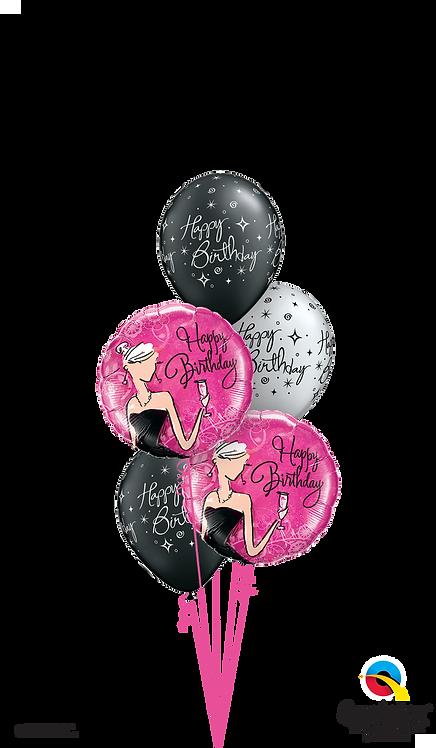 Classic Balloon Bouquet - Black & White Birthday