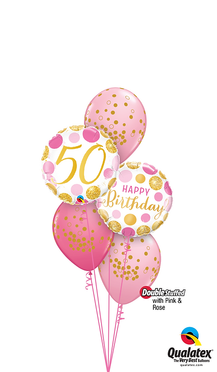 Classic Confetti Balloon Bouquet - Pink 'N' Gold 50