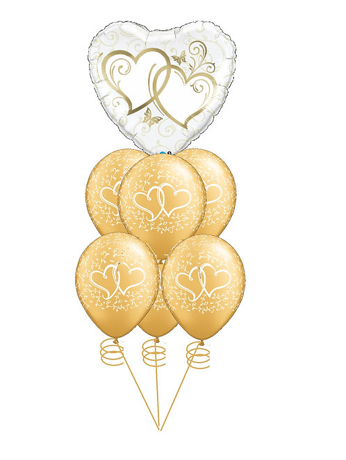 Awesome Balloon Bouquet - Hearts Aflutter:Gold