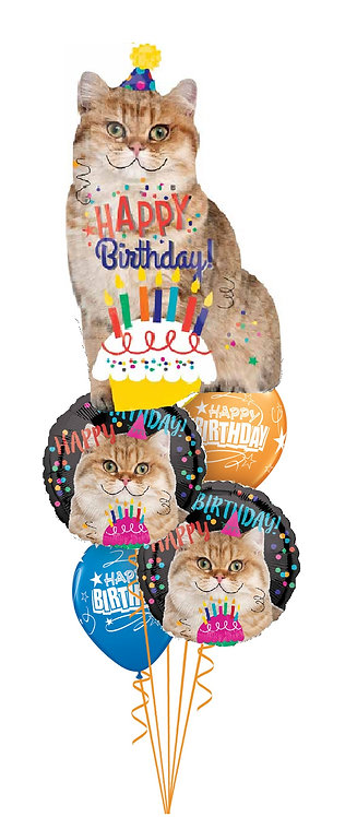 Cheerful Balloon Bouquet - Birthday Cat