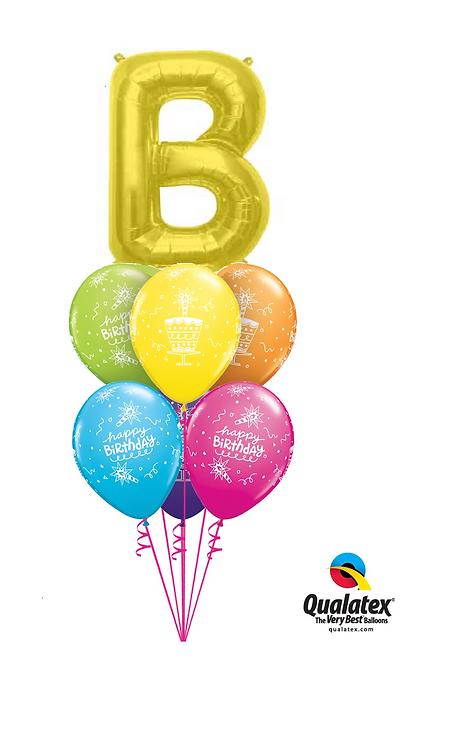 Monogram Birthday Balloon Bouquet - Gold