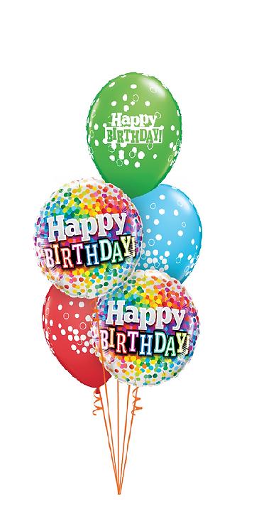 Classic Balloon Bouquet - Colourful Confetti Birthday