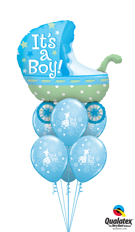 Awesome Balloon Bouquet - Baby Boy Stroller