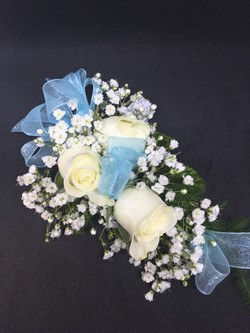 White Spray Roses with Blue Ribbon