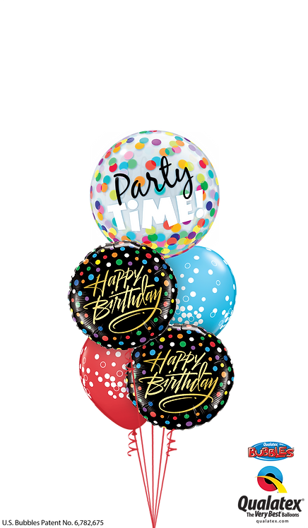 Cheerful Bubble Balloon Bouquet - Birthday Time Party Time (Black)